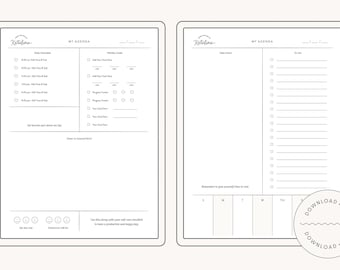 Personalized Agenda Template - Digital Daily Routine Planner Printable - Edit with PowerPoint - 2021 Planning