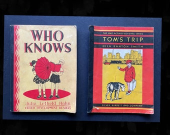 Two Vintage Beginning Readers / 1935 and 1937 / FREE shipping