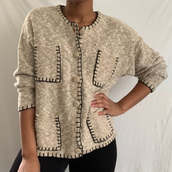 Vintage Beige and Black Embroidered Woven Cardigan
