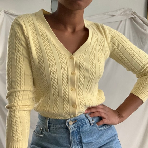 Vintage Pastel Yellow Cable Knit Cardigan