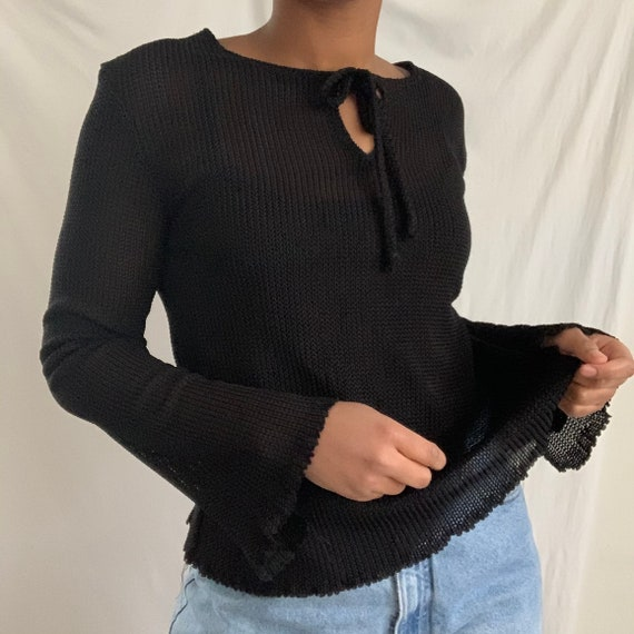 1990's Grunge Woven Sweater Mesh Top with Flare Be