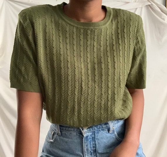 Green Vintage Knit Short Sleeve Sweater