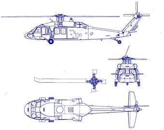 106 Blackhawk Helicopter Blueprint Plan