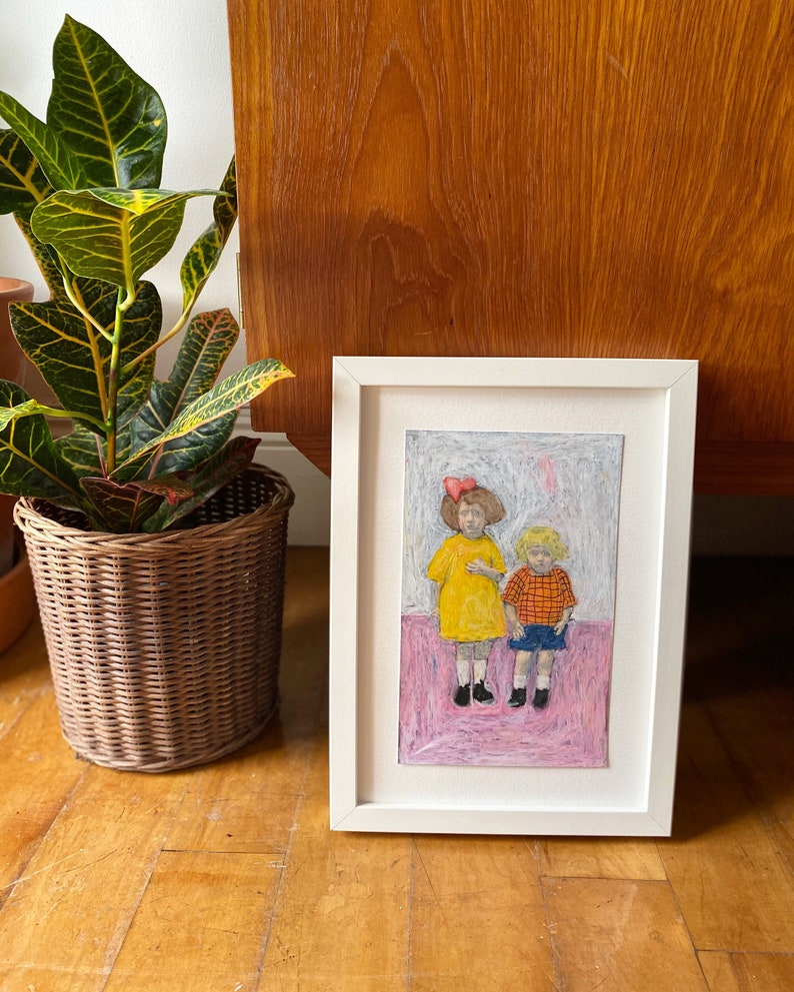 Les Enfants Sont Formidables Original Artwork Oil Pastel on Photo