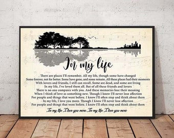 The Beatles In My Life Guitar Lyrics Horizontal Poster No Frame Poster US Supply