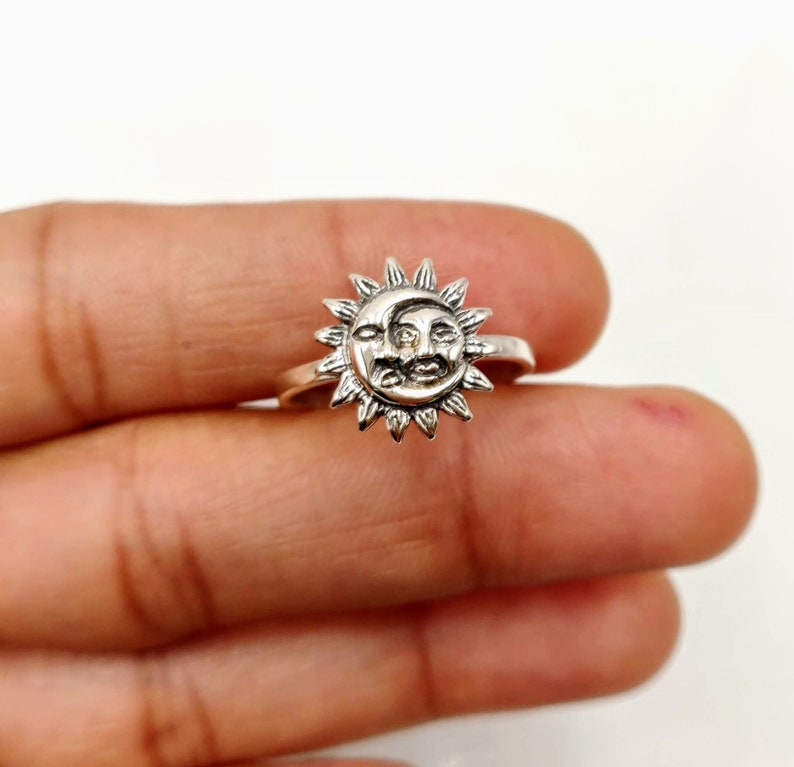 Sterling Silver Moon and Sun Face Ring crescent moon ring Moon Ring Boho Ring Silver Ring Statement Ring Sun Ring Celestial Ring