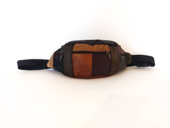 Leather Fanny Pack, Patchwork Leather Fanny Pack,