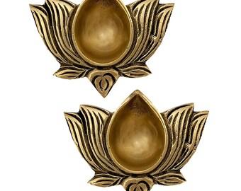 Red /& Blue Handmade Brass Diya Deepak Oil Lamp Small Lotus Kamal Shape for Home Temple Office Puja Articles Decor Set of 2