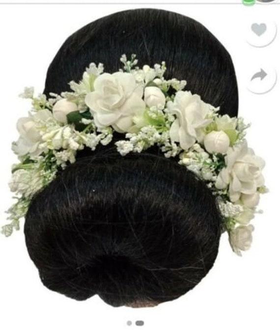 Indian Hair accessories Multicolor Gajra Artificial Flower Jewelry Handmade Veni tiara For Women Party Wear bridal mehndi Hair Bun