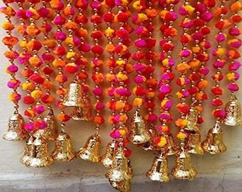 DIWALI SPECIAL Multicolor Pom Pom Artificial Marigold Garland Handmade Flower Garlands Home Decoration Wedding Wall Hanging Door Valence