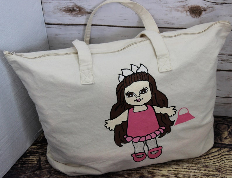 Zippered Canvas Tote Bag Overnight Girls Bag Hand painted Tote bag First Girls Birthday Gift American Doll Bag Toddler Girl Doll Bag