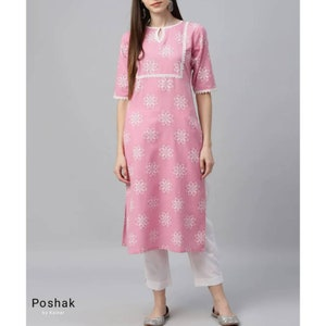 Beige and Pink Khari Printed Straight Kurta With Pant Silk Kurta with Palazzo in indian Ethnic Wear Kurta with Trousers Indian Dresses