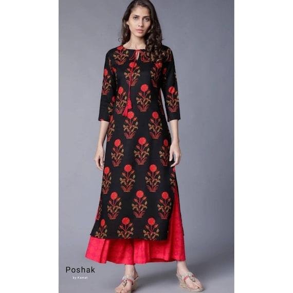 Kurta Set For Women Indian Ethnic Designer Printed Straight Kurti With Palazzos
