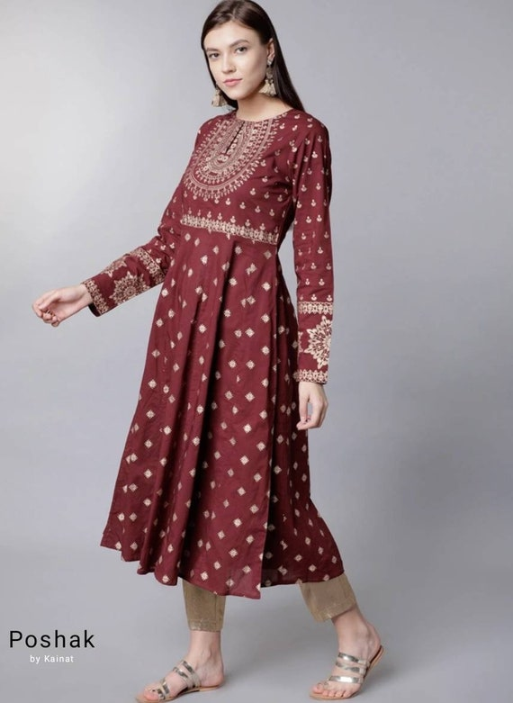 A-line Kurti Indian Dresses Ethnic Wear Anarkali Dress For Party Pure Cotton Anarkali Kurta For Women In Maroon