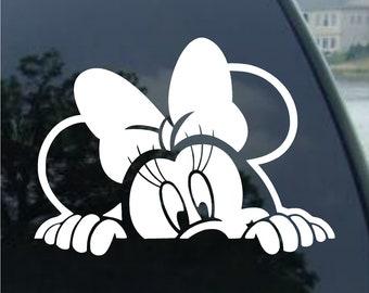 A Pair Minnie Pink Bow Car Sticker Window Mirror Sticker Laptop Sticker