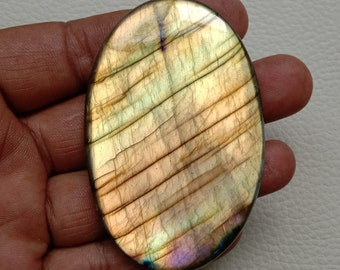 Top Quality Natural Labradorite Cabochon Yellow fleshy fire Loose gemstone 22X39-MM 39.75-CT For Jewelry Use