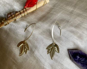 Earrings sheet minimalist jewel upcycled and Quebec made in Montreal