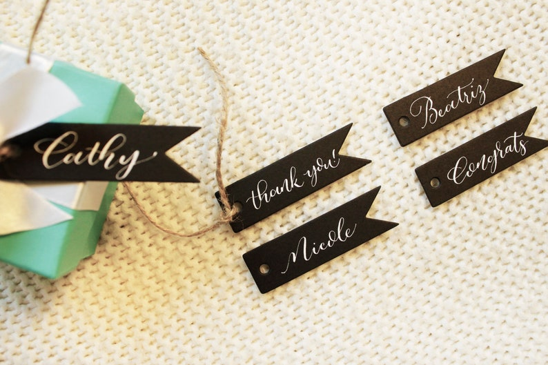 Small Custom Calligraphy Gift Tags Personalized Handwritten Tags with string KraftWhiteBlack Tags Event Party Favors BlackWhite Ink