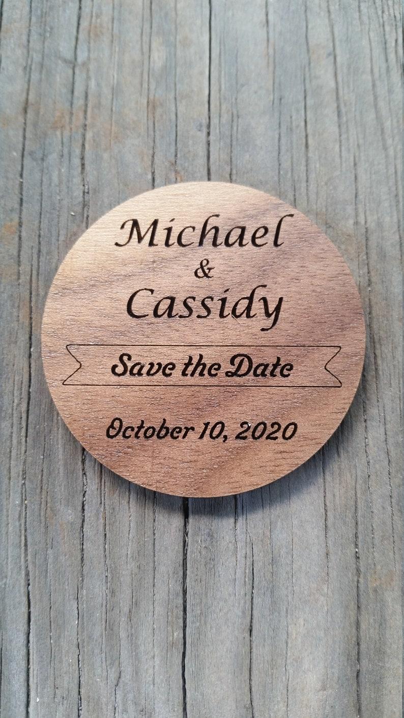 Save the Date Custom Wedding Announcement Wood Acrylic Save Walnut Dark (10ct)