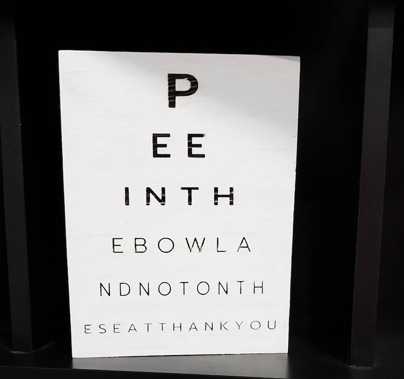 Pee in the Bowl Sign for Toilet Funny Bathroom Sign Modern image 0