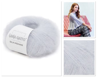 Luxury soft mohair and merino wool yarn for hand knit and weaving Fluffy mohair in polyacrylic rope Blue mohair with silver shine Yarn cake