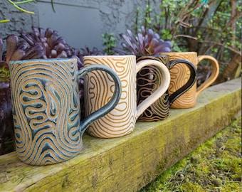 10oz Handmade Abstract Squiggle Mug