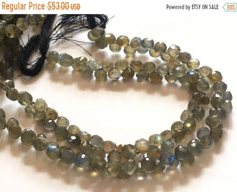 7 mm approx Good Quality 9 inch strand Natural Blue Flash Labradorite Faceted Onion Briolettes