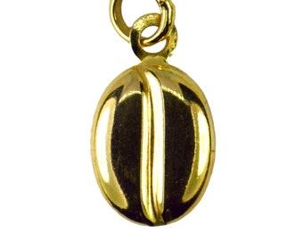 Genuine 9ct Yellow Gold Coffee Bean Charm Pendant