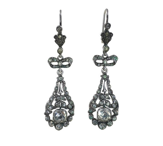 Edwardian Paste Silver Drop Earrings