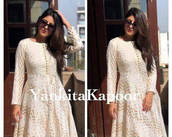 Gota Detailing Gold Printed Gift for her Christmas Day Special Indian Bollywood Designer Printed Anarkali Kurta Pant With Dupatta Set