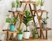 3 Tier Wooden Flower Pot Plant Stand Shelf Display Garden Decor Rack Indoor (Optional Wheels Included)