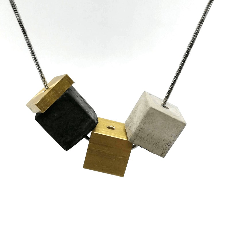 One of a Kind Minimal Necklace Unique Gift Idea \u30fb Modern Jewelry \u30fbBrutalist Design Concrete Cube Necklace on a Stainless Steel Chain