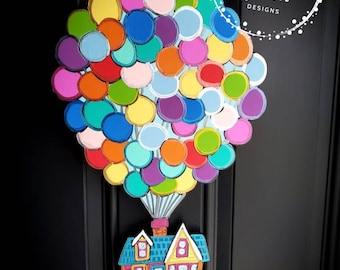 UP Balloons House Door Hanger, Carl Ellie, Mr Fredrickson, Paradise Falls, Adventure is out there, Welcome Door Hanger, Nursery, Dug, Kevin