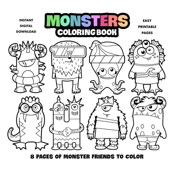 Monsters Coloring Book For Kids Printable Coloring Pages For Etsy