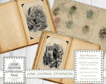 Vintage Bird Junk Journal Pages, Shabby Beige, Lined/Unlined, Reverse Papers, Collage, Bird Watcher's Gift, Junk Journal Ephemera Shop