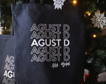 """NEW! Agust D Handwritten """"We are the best"""" Tote Bag-Heavy Canvas w/Gusset optional!"""
