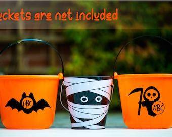 Personalized-Halloween Monogram Decals-Trick or Treat Buckets-kids monogram-Decal Sticker-Halloween Candies-Halloween bucket