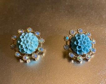 Blue Lucite Flower and Aurora Borealis Earrings