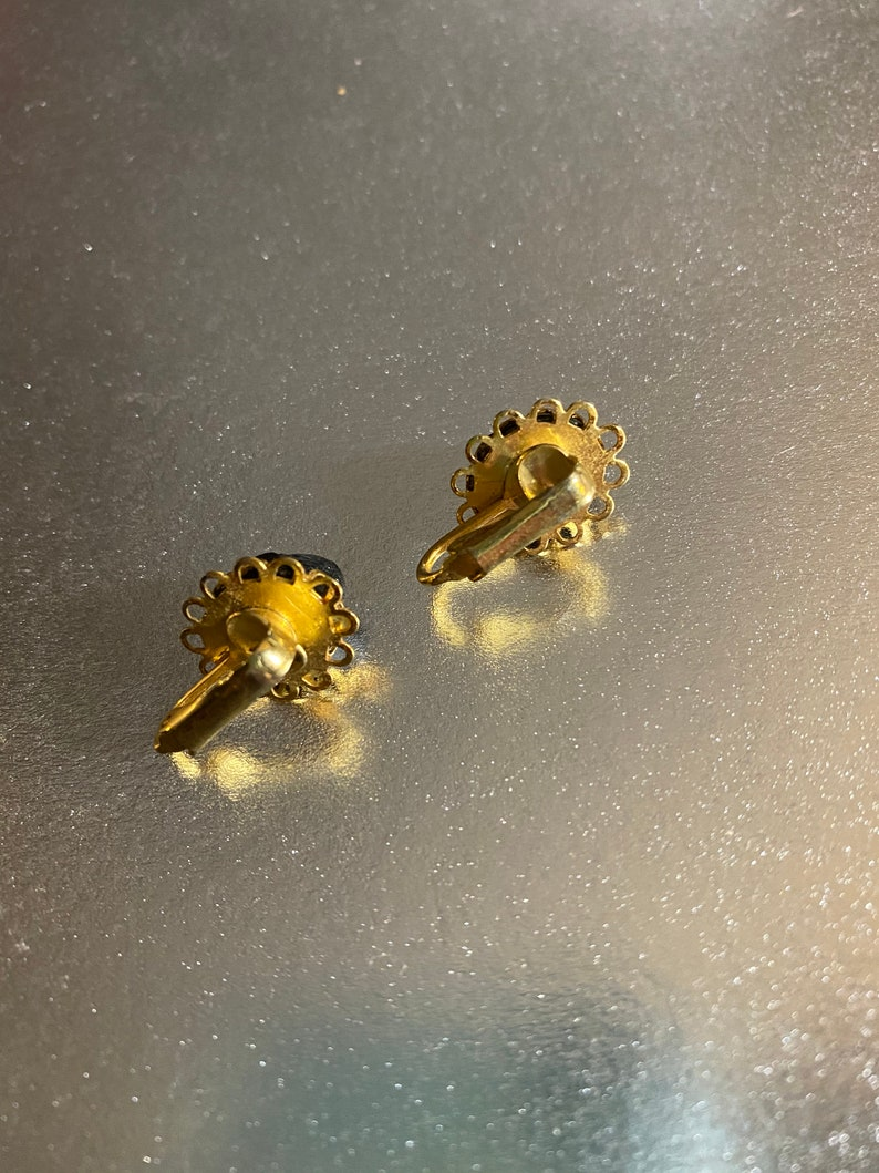 Small Black Lava Stone Clip on Earrings