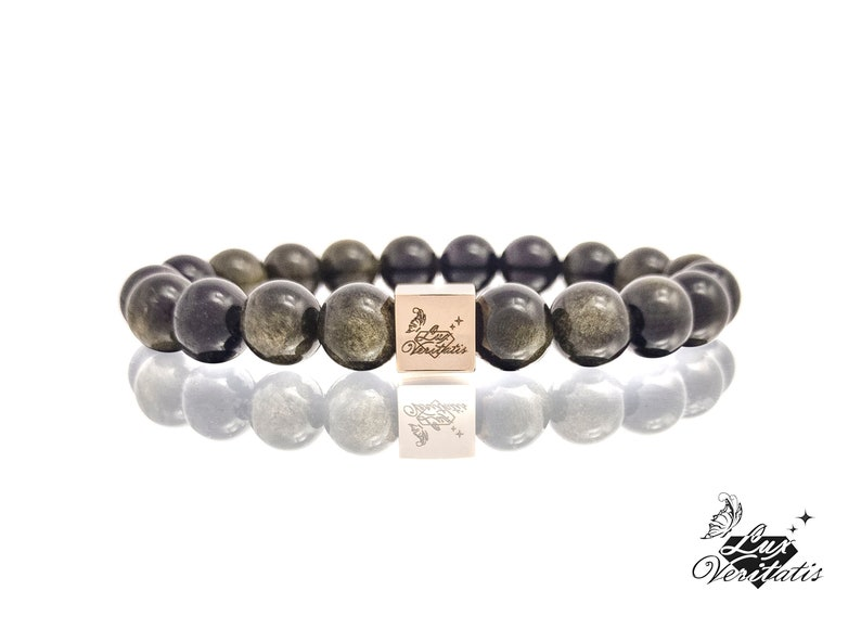 Healing stones Luxury jewelry and unique gift handmade beaded bracelet Gold Sheen Obsidian Natural Golden Obsidian