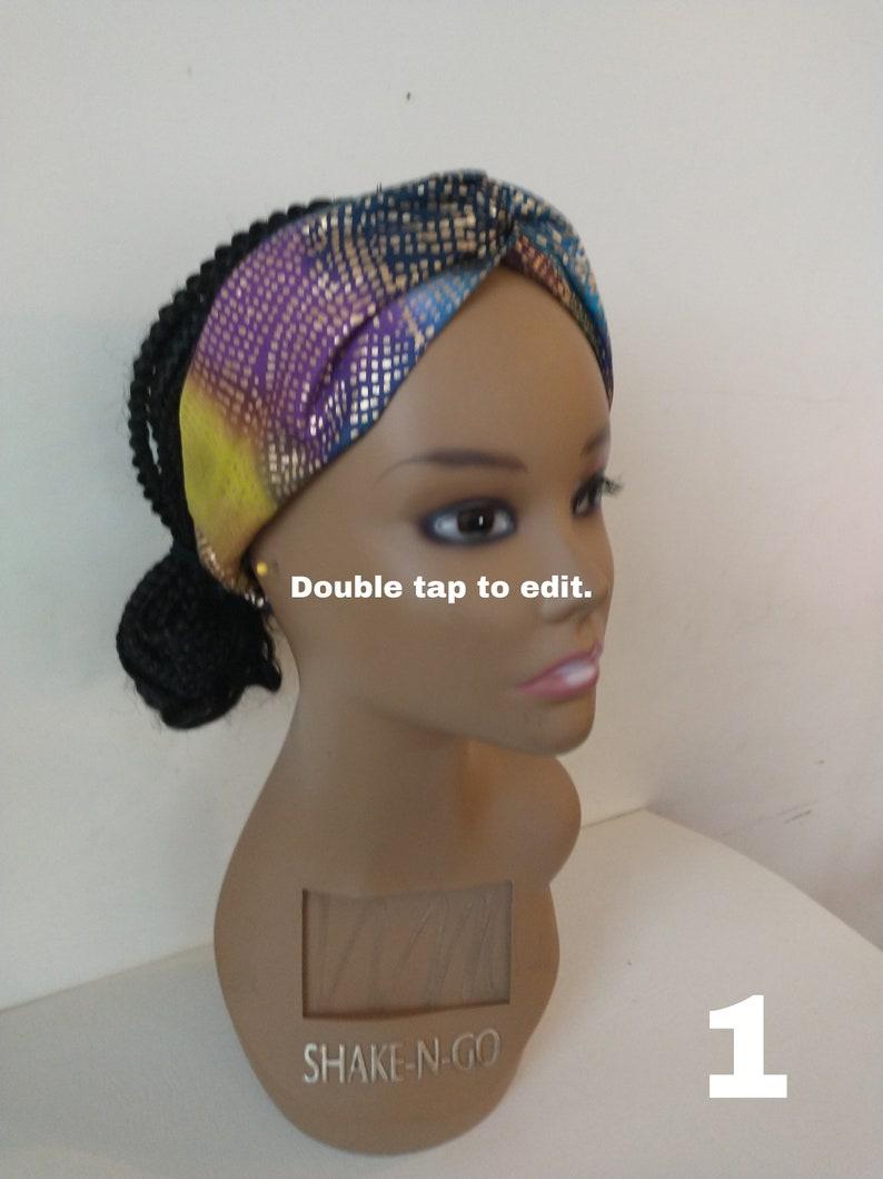 Batik Headband with elastic Kente fabric Twist Headband Elastic Headband Women/'s Headtie