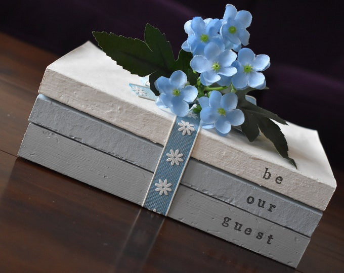 Be Our Guest Stamped Painted Decorative Book Stack Farmhouse Rustic Shabby Handmade Guest Room Home Decor Sign blue grey Personalised Gift