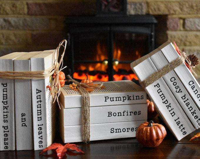 Autumn decor books, Autumn book stacks, Pumpkin, Farmhouse stamped books, Fall decor, Decorative books, Fall tiered tray, Personalised books