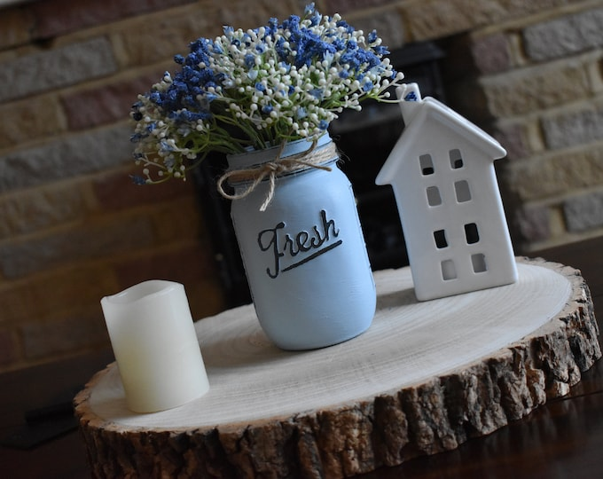 Blue painted mason vase, Rustic distressed mason jar with faux flowers , Farmhouse table decor, Vintage shelf decor, Shabby chic home gifts