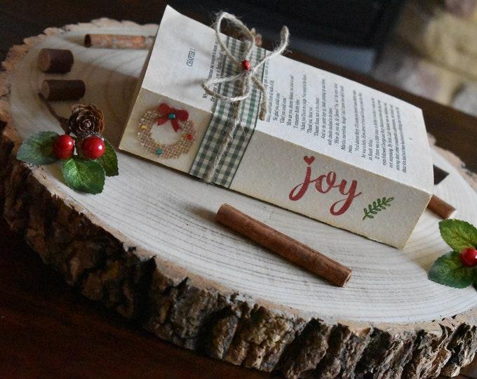 Festive farmhouse book, rustic Christmas decor, stamped books, decorative book, Christmas book stack, handmade Christmas gift, Christmas joy