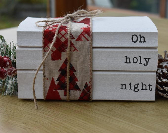 Christmas books for decor, Oh holy night, Stamped decorative books, Christmas book stack, Personalised gift, Christmas songs on book spines