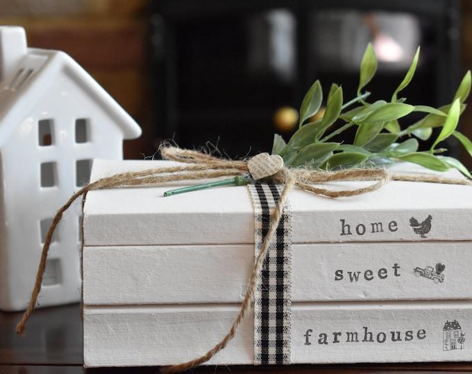 Home Sweet Farmhouse Stamped Decorative Book Stack, Rustic Home Decor, Custom Farmhouse Sign, Shabby Shelf Decor, Decorative Book Gift ideas