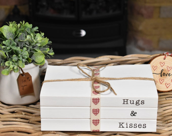 Valentines book bundle, Personalised gifts for her, Hugs and kisses book stack, Valentines home decor, White decorative books, Stamped books