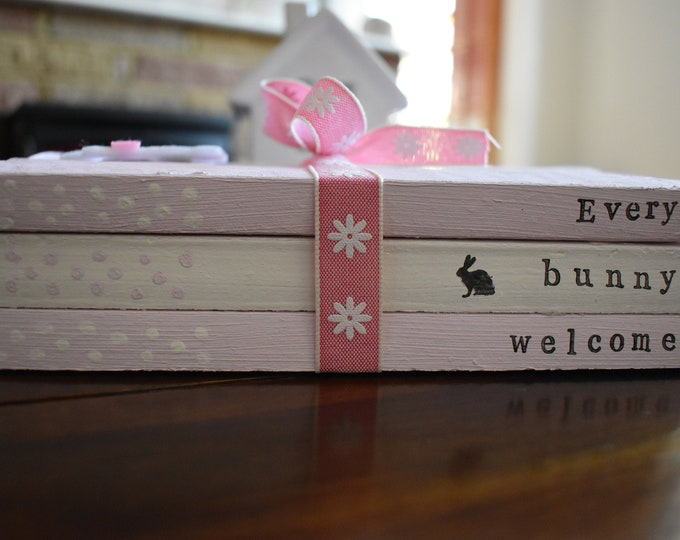 Every Bunny Welcome Stamped Rustic Farmhouse Shabby Country Style Book Stack Pastel Handmade Personalised Easter Spring Home Decor Gift