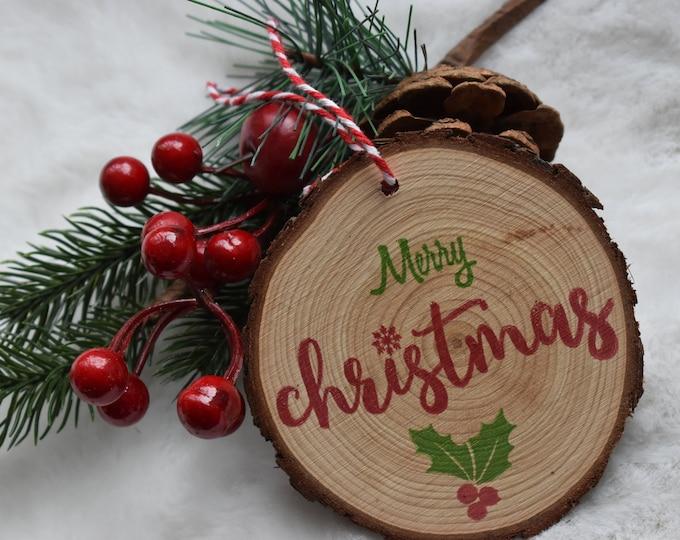 Christmas wood slice ornament, Rustic wood slice decor, Log slice bauble, Christmas tree decoration, Rustic wood slice bauble, Home gifts